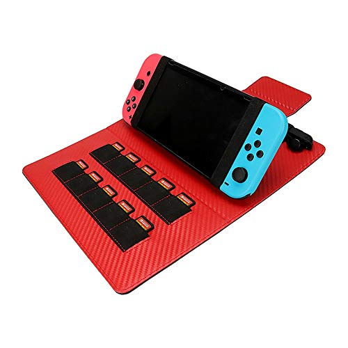 Twippo Carry Case for Nintendo Switch - [Shockproof] Hard Shell Protective Cover Portable Travel Bag with 10 Game Card Slots Slim Hybrid Protective Case for Nintendo Switch, Red