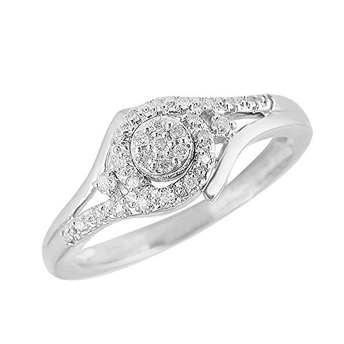 (0.20 TCW Round Cut Natural Diamond 10k White Gold Promise Engagement Ring 8)
