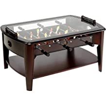 Foosball Coffee Game Wood 42 Table Tempered Glass Top Tabletop Furniture Family Dark Brown by Barrington