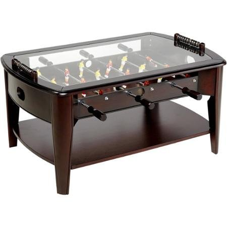 """Price comparison product image Foosball Coffee Game Wood 42"""" Table Tempered Glass Top Tabletop Furniture Family Dark Brown"""