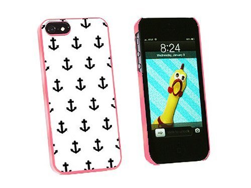 Graphics and More Ahoy Nautical Boat Theme Black White Snap-On Hard Protective Case for iPhone 5/5s - Non-Retail Packaging - Pink