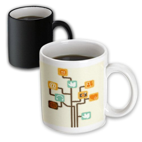 3dRose mug_104600_3 Social Media Internet Icons Geek Tree Vector Design Magic Transforming Mug, 11-Ounce (Fill Icon Tee)