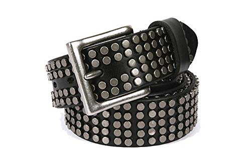 Men Women Rivet Studded Rocker Genuine Leather Belt Gothic Motorcycle Biker 1.5'' Width Pin Buckle Wristband Belt ()