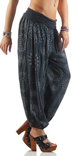 ZARMEXX Señoras de los bloomers de los pantalones pantalones harén pantalones de verano por toda impresión One Size gris oscuro