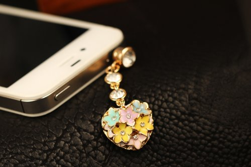CJB Dust Plug / Earphone Jack Accessory Lovely Colourful Flower Heart for iPhone 4 4S S4 5 All Device with 3.5mm Jack