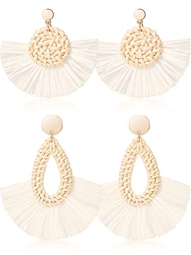 (2 Pairs Handmade Bohemian Dangle Fringe Drop Earrings Colorful Raffia Braid Thread Tassel Earrings Round Beaded Earrings Geometric Octagon Earrings for Women Girls (Style H))