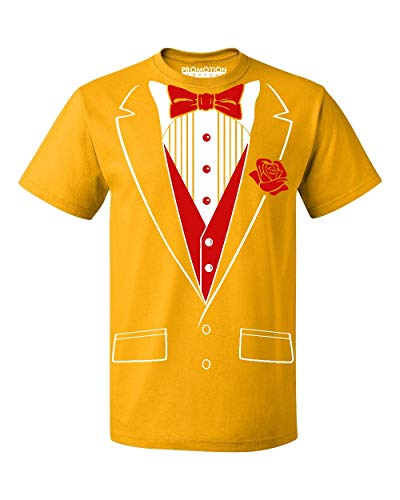 Rose Yellow T-shirt - P&B Tuxedo Red Rose Funny Men's T-Shirt, M, Gold