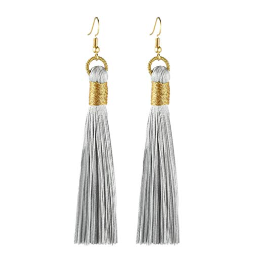 (Earring Bohemian Fringed Long Section of Beads Pendant for Girlfriend Exquisite Drop Earrings)