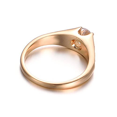 Yoursfs Solitaire Engagement Ring For Women Halo Party 18K Rose GP Fashion Jewelry