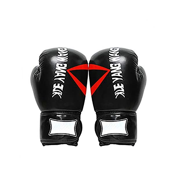 JIAGU-Kickboxing-Gloves-Boxing-Gloves-Training-Punching-Sparring-Bag-Punch-Bag-Mitts-Muay-Thai-Kickboxing-MMA-Workout-Juniors-Adults-Color-Black-Size-10oz