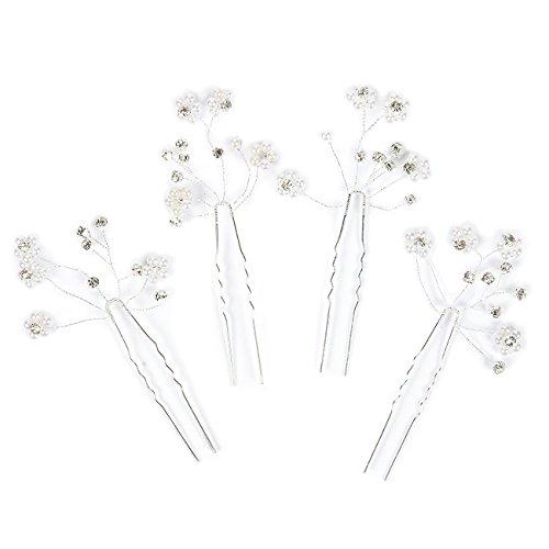 - 4-Pack Wedding Hair Pins - Decorative Bridal Hair Accessories, Rhinestone Flower Hair Pins with Faux Pearl Beads, Silver - 3.75 Inches
