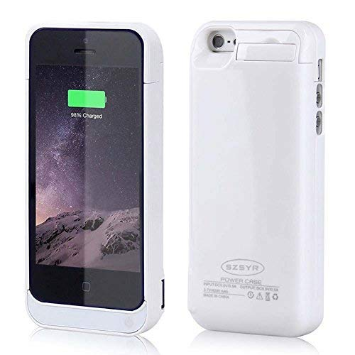 the latest 4b9fc b90d6 iPhone 5 Battery Charger Case,External Battery Backup Charger Case Pack  Power Bank for iPhone 5/5s/5c SE,4200mAh(White)