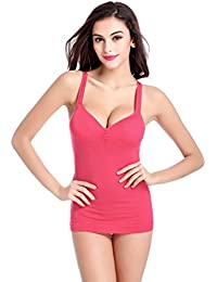 4032eff617 Women Camisole Tops with Built in Bra V-Neck Padded Tank Top