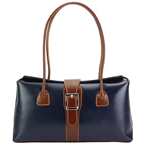 VACHETTE DE MAIN VERITABLE ERMINIA CUIR FAIT SAC Bleu À marron Market 217 Foncé Leather EN Florence RvCqPP