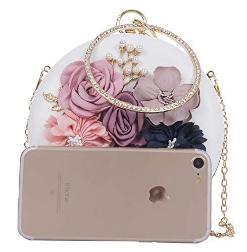 Women's Handbag Evening Floral Onfashion Handbags Pearls White Bag Clutches Clutch d86wxvqg