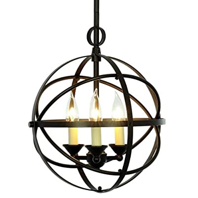 Miseno MLIT155389 3-Light Cage Orb Chandelier,