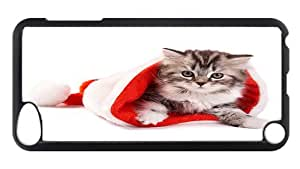 iPod Touch 5 Case, Christmas Kitten In A Santa Hat Rugged Case for iPod Touch 5/ /iPod 5/ iPod 5th Generation PC Materia Plastic Case Black
