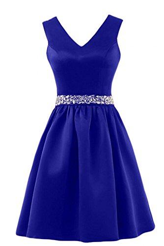 Charmant Abendkleider Kurz Ballkleider Satin Ausschnitt Guertel Damen Pailletten Einfach V Royal Brautjungfernkleider Blau Xqxw4Xr6v