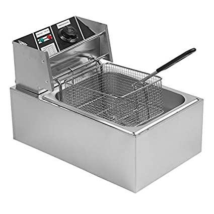 Commercial Electric Deep Fryer 10/20L Stainless Steel with Drains for Home  Kitchen Restaurant French Fry (Sliver 10L)