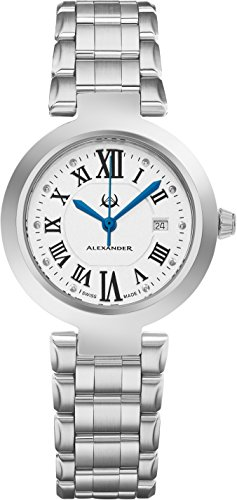 Alexander Monarch Niki Date Silver Large Face Watch For Women – Swiss Quartz Stainless Steel Silver Band Elegant Ladies Fashion Designer Dress Watch A203B-01