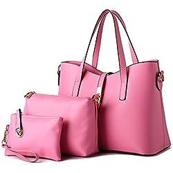 Hynbase Fashion Women Cross Body Handbag Set Of 3 Shoulder Bag Pink