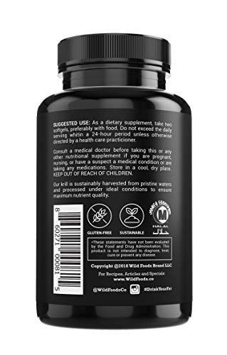 Wild Krill Oil (Antarctic) - Double Strength, 60 Softgels - 1000mg of Antarctic Krill Oil with Omega-3s EPA, DHA, Essential Phospholipids and Astaxanthin - Heavy Metal Tested! (6 Bottles) by Wild Foods (Image #2)
