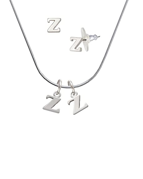 e4f2a9c9f744 Small Initial - Z - - Z Initial Charm Necklace and Stud Earrings Jewelry  Set  Amazon.ca  Jewelry