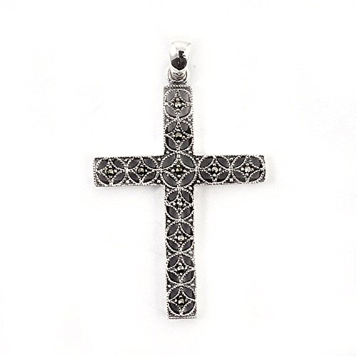 Cross Pendant Simulated Marcasite .925 Sterling Silver Charm