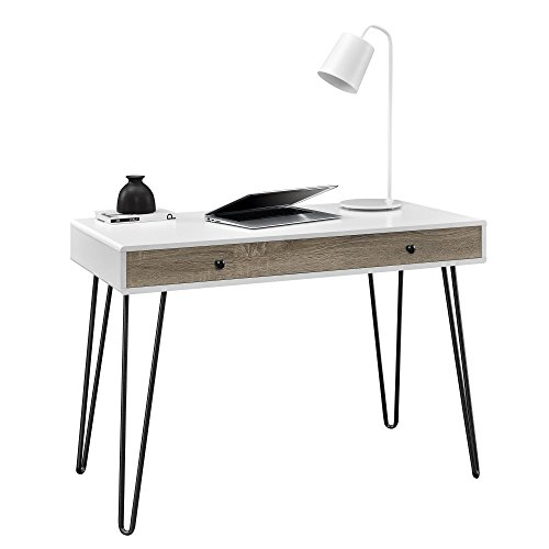 Owen Retro Student Desk White Distressed Gray Oak