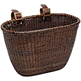 Retrospec Cane Woven Oval Dreamcatcher Basket with Authentic Leather Straps & Brass Buckles