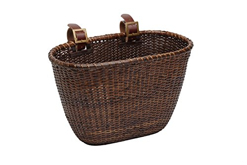 Retrospec Cane Woven Oval Dreamcatcher Basket with Authentic Leather Straps & Brass Buckles, Dark Stain
