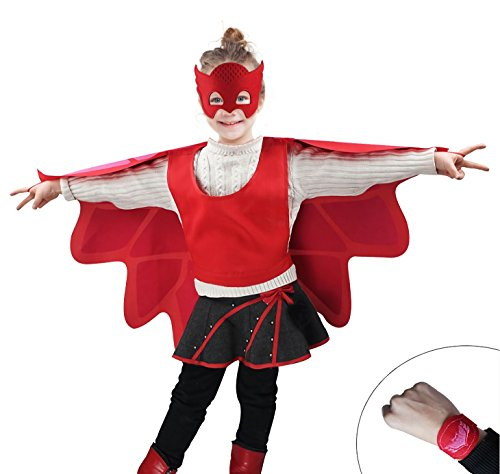 [GRACES] PJ Owlette Kid's Red Coctume With Mask (Using Old Dance Costumes For Halloween)