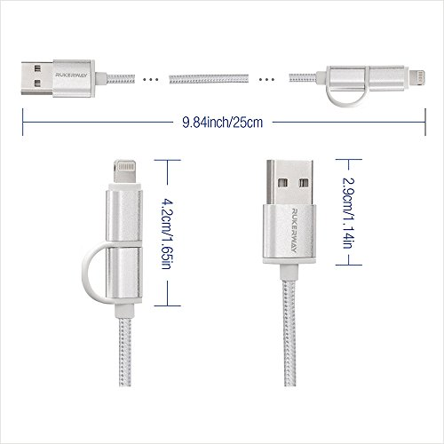 Rukerway Short Phone Charger 2 in 1 Lightning and Micro USB Cables Data Transfer Power Cords [4 Pack 0.8ft] Compatible Perfectly with Multi-Port Charging Station and USB Hub