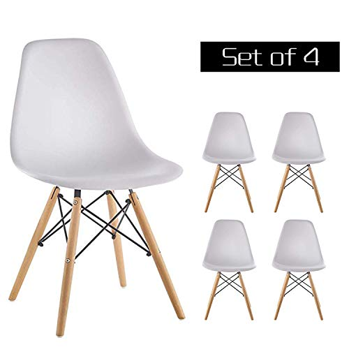 Homy Grigio Dining Chairs DSW Chairs Mid Century Modern Style Chairs Plastic Chairs Wood Assembled Legs, Set of 4 (White)