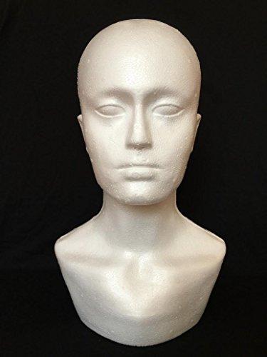 Glorrt Male Styrofoam Foam Mannequin Manikin Display Head Wig Hat Stand Display Head Model - Shapes Male Head