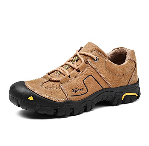 WSK Men's outdoor hiking shoes leather non-slip wear-resistant sports shoes men's shoes running travel shoes men's shoes large size 46, Orange, 42