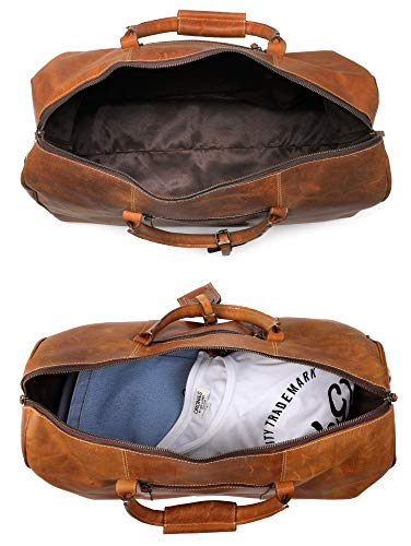 Leather Travel Duffel Bag - Airplane Underseat Carry On Bags By Rustic Town  (Brown) 1533d054b9f55