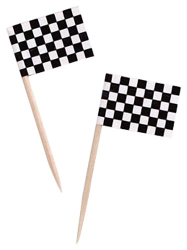 Dress My Cupcake Cupcake Toppers and Picks, Black and White Racing Checkered Flags, Set of 50