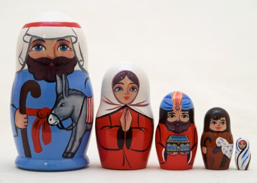 Baby Jesus 5 Piece Russian Wood Nesting Doll Matryoshka Stacking Dolls Russia
