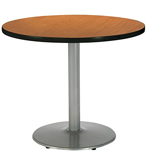 KFI Seating Round Pedestal Table with Round Silver Base, Commercial Grade, 36-Inch, Medium Oak Laminate, Made in the USA ()
