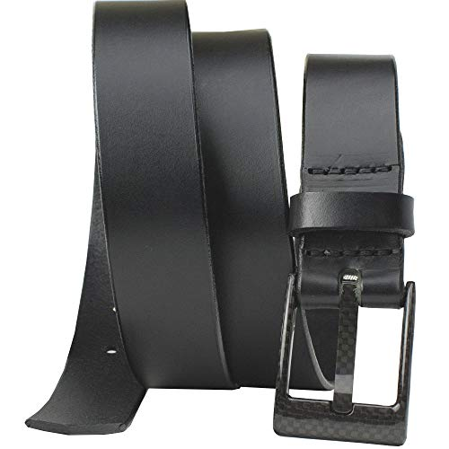 (Carbon Fiber Square Wide Pin Belt - Nickel Smart - Black Leather Belt with Nickel Free Carbon Fiber Beep Free Buckle - 32
