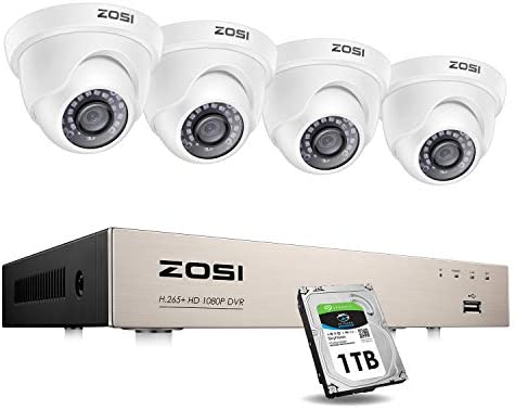 ZOSI Security Cameras System with 1TB Hard Drive,H.265 5MP Lite 8Channel HD-TVI DVR Recorder and 4pcs 1080P HD 1920TVL Indoor Outdoor Surveillance CCTV Dome Cameras with Night Vision,Remote Access