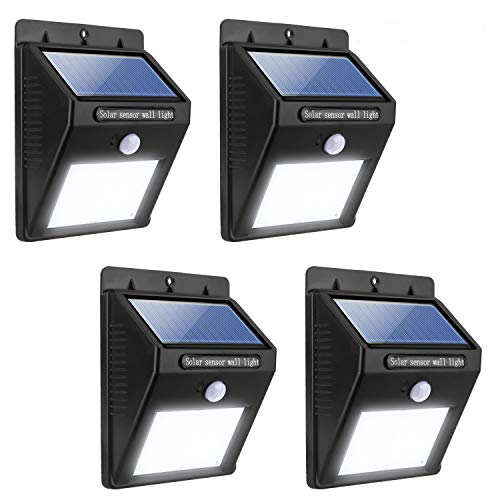 Miserwe Solar Led Lights 4 Pack Solar Motion Light 20 LED Motion Sensor Led Solar Lights Outdoor Waterproof Wireless Solar Powered Motion Light for Step Garden Yard Path (Black)
