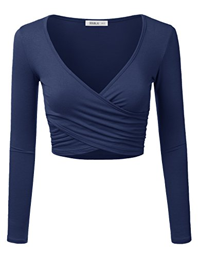 Doublju Deep V-Neck Fitted Surplice Wrap Crop Top (Plus size available) NAVY (Colored Crop)