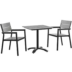 Modway Maine 3piezas Aluminio Patio juego de mesa y sillas de comedor