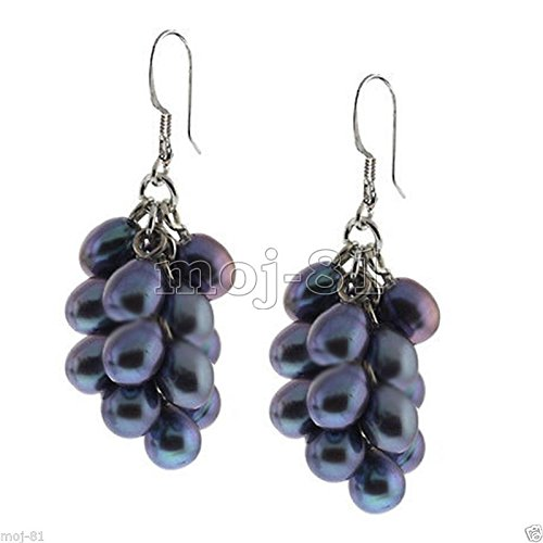 Genuine Black Grape Cultured Freshwater Pearl Cluster 925 Silver Hook Earrings