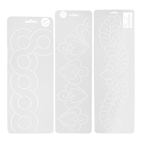 Jili Online 3 Pieces Plastic Stencil Quilting Template for DIY Patchwork Sewing Craft Tool