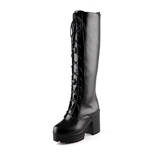 Show Shine Womens Fashion Knee-high High-heel Block-heel Lace-up Western Boots (4, black)