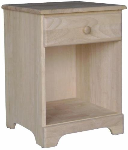 International Concepts BD-5001 Night Stand with One Drawer (Bedroom Unfinished Nightstand)