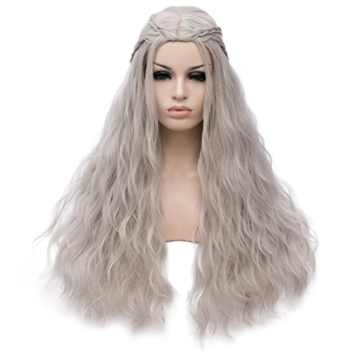 Amback Long Curly Braid Cosplay Wig for Game of Thrones Daenerys Targaryen khaleesi (Silver White)